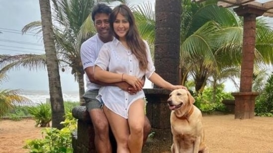 Kim Sharma and Leander Paes were spotted strolling in Mumbai on Monday.