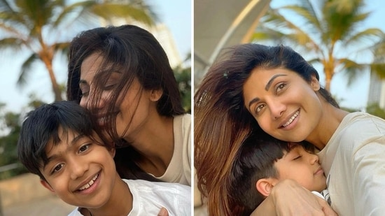 Shilpa Shetty's son Viaan shared pictures with her on Instagram.