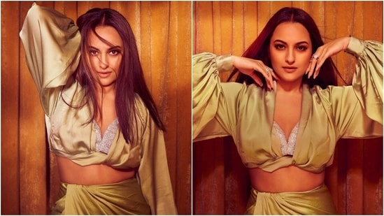 Sonakshi Sinha slays it in a sexy green blouse and thigh-slit skirt worth <span class='webrupee'>₹</span>14k(Instagram/@aslisona)