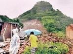 A view of the landslide at Taliye village near Mahad in Maharashtra.(HT File Photo)
