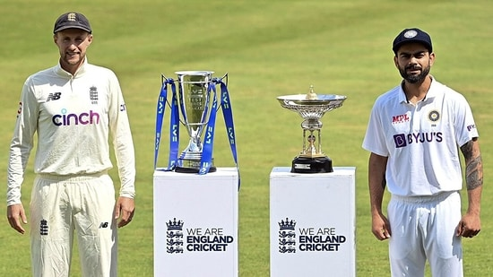 England Skipper Joe Root along with India's Skipper Virat Kohli pose with the trophy ahead of 1st first test match between India and England, at Trent Bridge in Nottingham on Tuesday. (ANI Photo)
