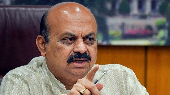 Karnataka chief minister Basavaraj Bommai in a video conference with the deputy commissioners of Karnataka's districts, bordering the neighbouring states in the wake of a surge in the number of Covid-19 cases. (File Photo / PTI)