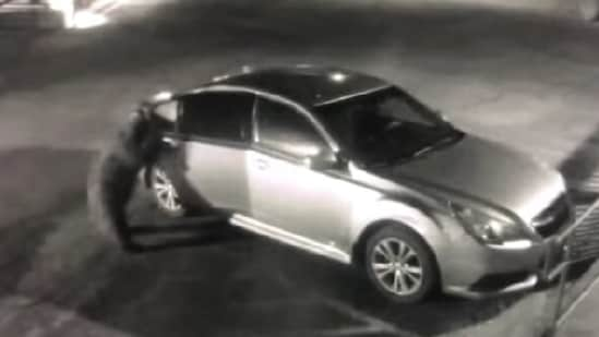 The image shows the bear opening the car door.(Facebook/@Sierra County Sheriff's Office)