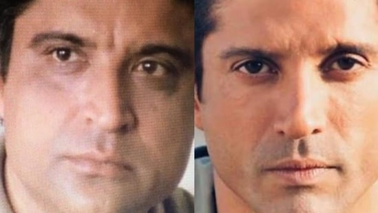 Shabana Azmi shared this combo picture of Javed Akhtar and Farhan Akhtar.