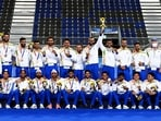 Indian Men's Hockey players pose for a photo with their bronze medal