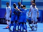 India players celebrate after India's Simranjeet Singh scored on Germany during the men's field hockey bronze medal match at the 2020 Tokyo Olympics(AP)