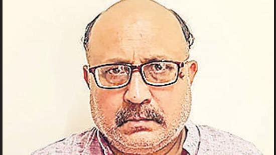 New Delhi: In this handout photo provided by Delhi Police, Delhi Police arrested freelance journalist Rajeev Sharma, who was allegedly found in possession of defence-related classified documents, in connection with a case, under the Official Secrets Act, yesterday, in New Delhi, Saturday, Sept. 19, 2020. (PTI Photo)(PTI19-09-2020_000125B) (PTI)