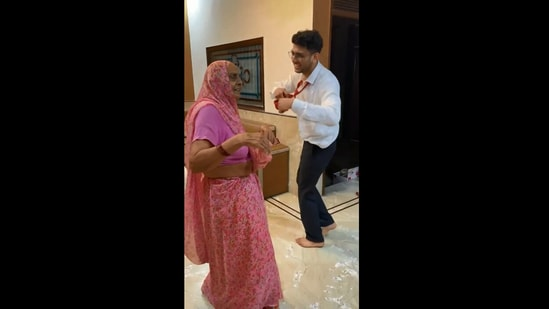 The image shows the grandma dancing with her grandson.(Instagram/@ankitjangidd)