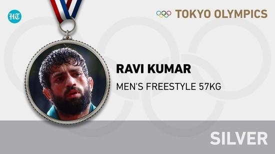 India's Ravi Kumar Dahiya won silver medal in the men's 57kg freestyle wrestling(HT Photo)
