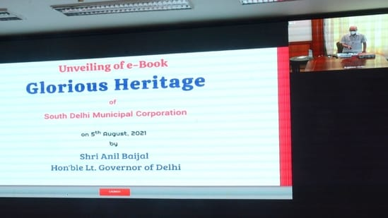 The e-book, which has photographs along with a small description and history of the site, was launched by lieutenant-governor Anil Baijal via video conferencing on Thursday.(Twitter/@OfficialSdmc)