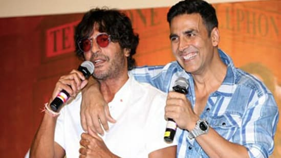 Chunky Panday and Akshay Kumar at a press event.