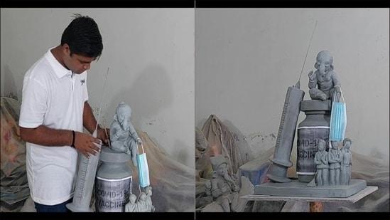 Gujarat artist makes eco-friendly Ganesh idol sitting on Covid-19 vaccine vial(Twitter/ANI)