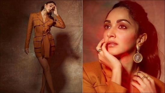 Kiara Advani sizzles in <span class='webrupee'>₹</span>28k camel colour co-ord set for Shershaah promotions(Instagram/ekalakhani)