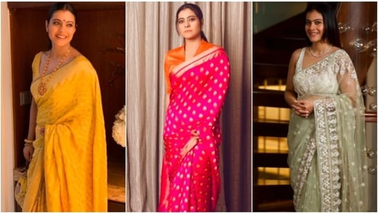 If you are a fan of Kajol then you must be knowing that the 'Dilwale Dulhania Le Jayenge' actor loves sarees. From Banarasi to silk sarees, Kajol has worn it all. As the actor turns 47, here are a few sarees from her wardrobe that every Indian girl wants in their wardrobe.(Instagram/@kajol)
