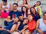 Khatron Ke Khiladi 11 contestants Sourabh Raaj Jain, Sana Makbul and Arjun Bijlani pose with others.
