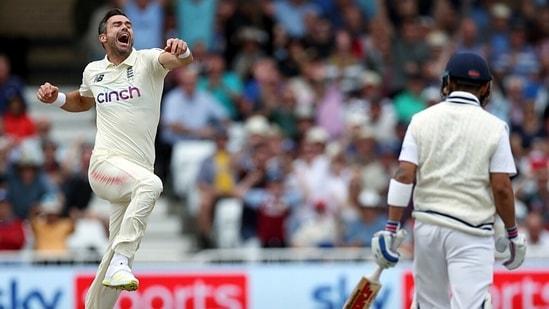 England's James Anderson celebrates the dismissal of Indian skipper Virat Kohli. (ANI Photo)
