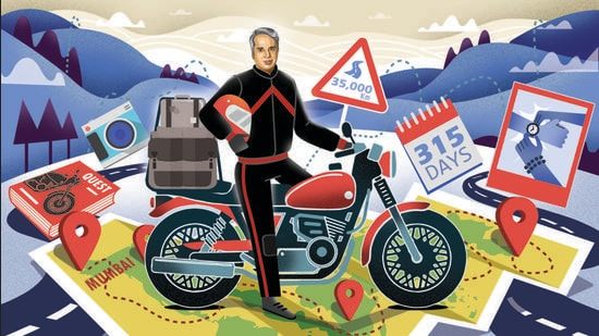 Aditya Raj Kapoor embarked on a world trip across 15 countries, all alone, riding in unfamiliar terrain and unpredictable situations, at the age of 61. (Illustration: Gajanan Nirphale)