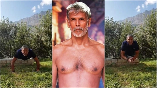 Milind Soman makes us yearn for a hilly getaway as he nails clap push-ups on a mountain(Instagram/milindrunning)
