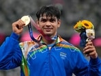 Tokyo: Gold medalist Neeraj Chopra, of India, poses during the medal ceremony for the men's javelin throw at the 2020 Summer Olympics, Saturday, Aug. 7, 2021, in Tokyo.(AP)