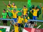 Yokohama: Players of Brazil celebrate after defeating Spain in the men's soccer final match at the 2020 Summer Olympics, Saturday, Aug. 7, 2021, in Yokohama, Japan.(AP)