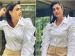 Shweta Tiwari in classic white blouse and beige pants shows how to wear statement sleeves(Instagram/@shweta.tiwari)