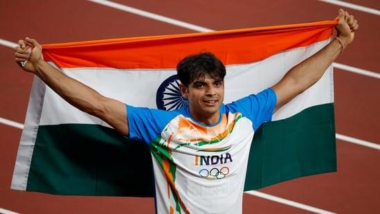 Tokyo 2020 Olympics - Athletics - Men's Javelin Throw - Final - Olympic Stadium, Tokyo, Japan - August 7, 2021. Neeraj Chopra of India celebrates after winning gold(REUTERS)