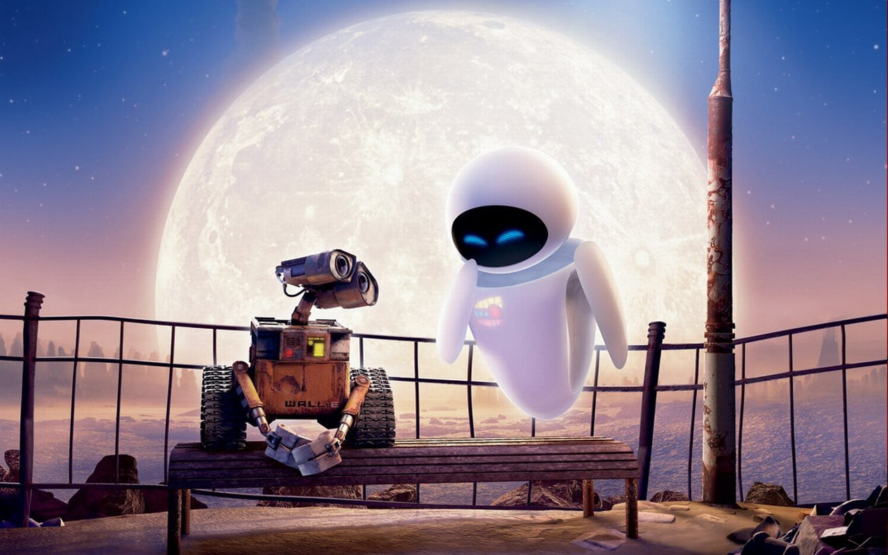 Wall-e, with his android lady love Eva (Pixar)