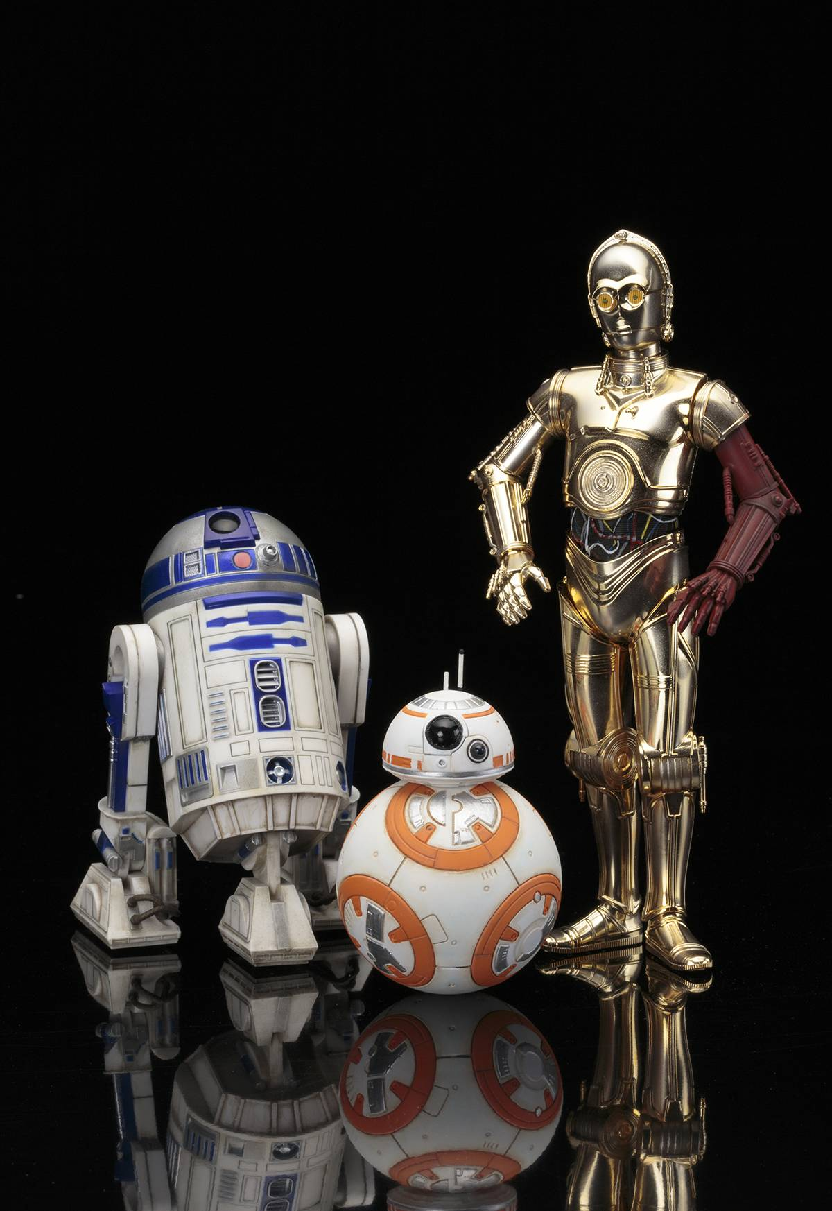 The chrome droid C3PO and the astromech droid R2D2 were in every core Star Wars film. Even BB8, bouncing about in later films, is fun (Disney)