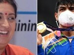 Smriti Irani's special message on Neeraj Chopra's win prompted people to share various comments.(Instagram/ANI)