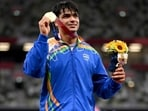 Gold medalist Neeraj Chopra of India stands on the podium during the medals ceremony. (Getty Images)