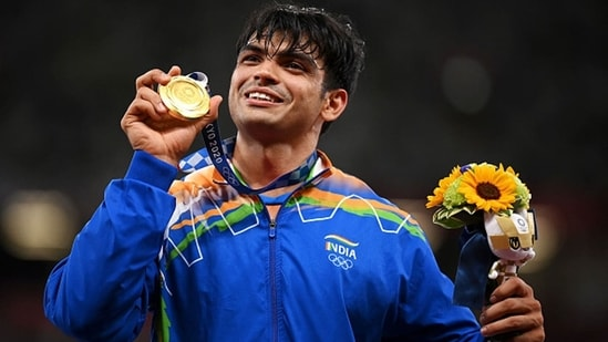 Gold medalist Neeraj Chopra of India stands on the podium during the medal ceremony.(Getty Images)
