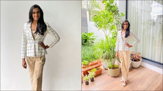 PV Sindhu's ultimate boss lady vibes in a contrasting pantsuit stuns fashion police(Elevate Promotions)