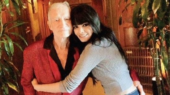 Sherlyn Chopra poses with Playboy founder Hugh Hefner.
