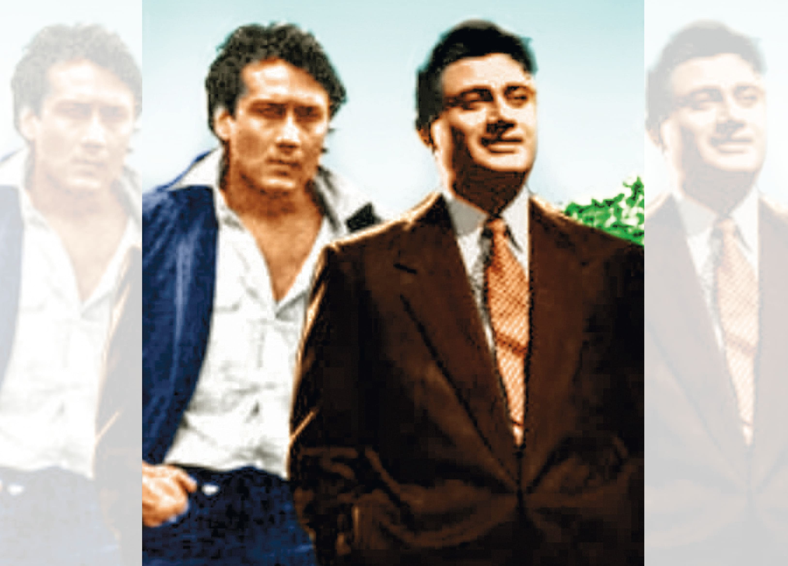 With his matinee idol, Dev Anand (right)