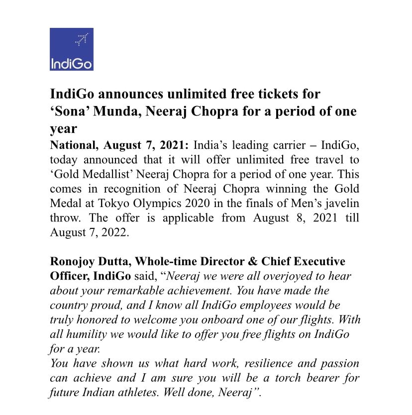 Statement issued by IndiGo Airlines on Neeraj Chopra's gold win at the Olympics (Via @ChhaviLeekha on Twitter)