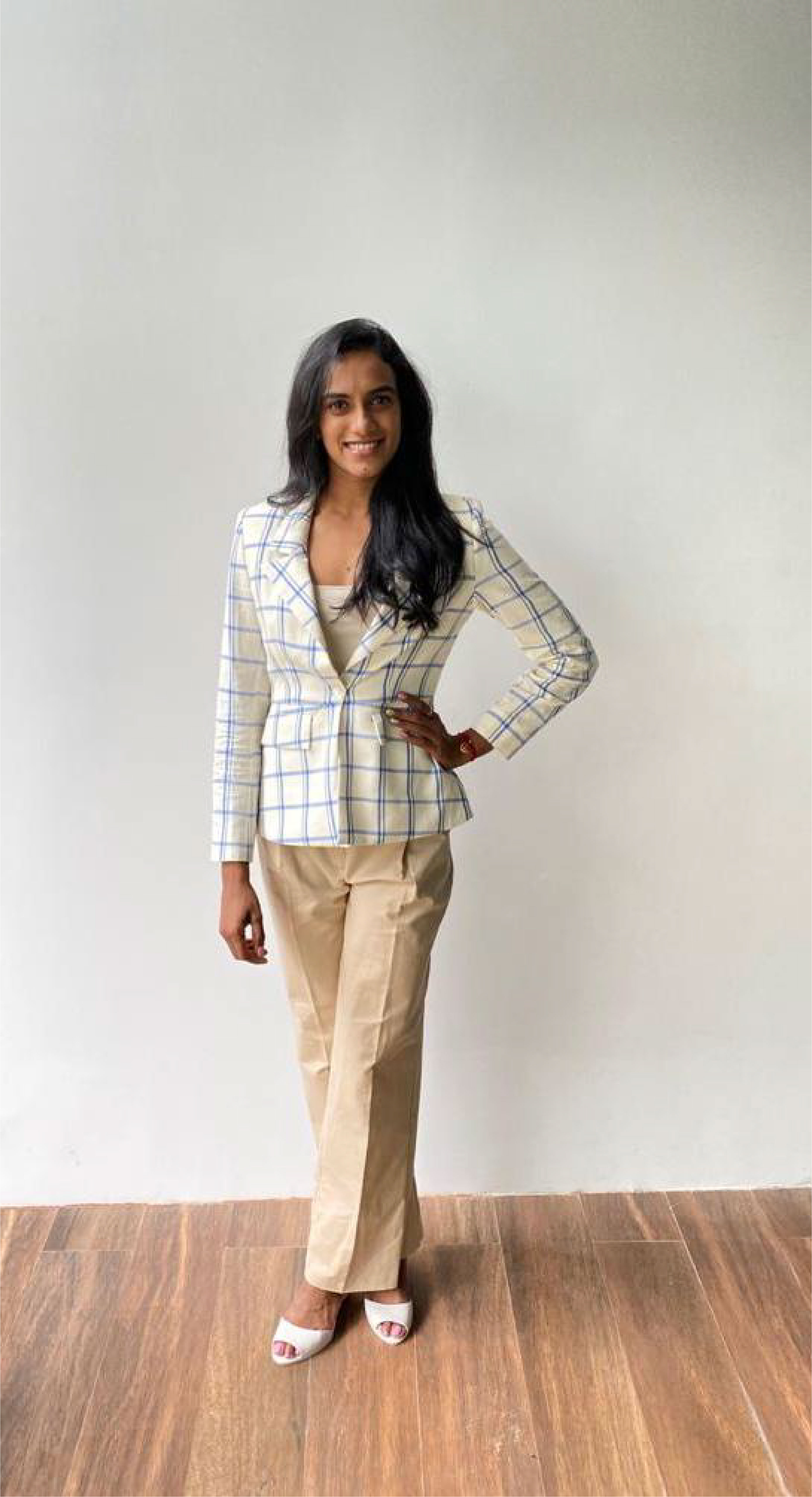 PV Sindhu in a contrasting pantsuit ahead of a press conference(Elevate Promotions)