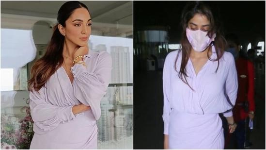 When Kiara Advani wore Janhvi Kapoor's <span class='webrupee'>₹</span>7k lilac airport dress for Shershaah promotions(Instagram/@makeupbylekha, Varinder Chawla)