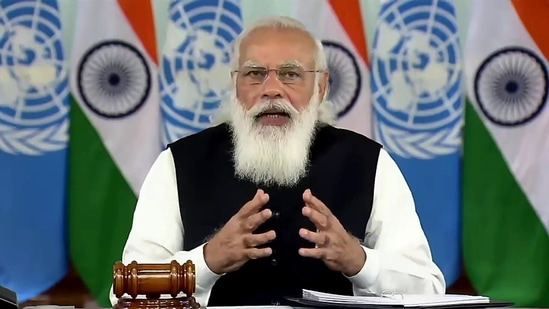 """PM Modi called for a """"framework of mutual understanding and cooperation"""" on maritime security as he outlined five principles. (ANI Photo)"""