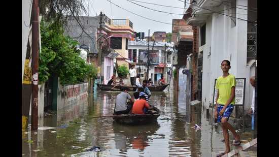 Flooded localities of Prayagraj on Tuesday. (Anil Kumar Maurya/HT)