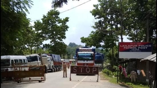 Vehicles at Lailapur border in Assam. (Sourced)
