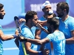 Harmanpreet Singh celebrates scoring India's third goal against Germany. (Getty Images)