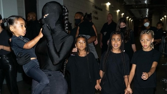 Kim Kardashian with her children at the Donda event recently.(Instagram)