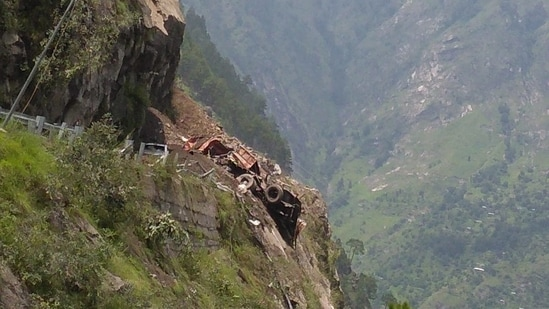 Himachal Pradesh: The landslide in Kinnaur district is feared to have buried more than 40 people under the debris, while several other vehicles are also trapped. (ANI)