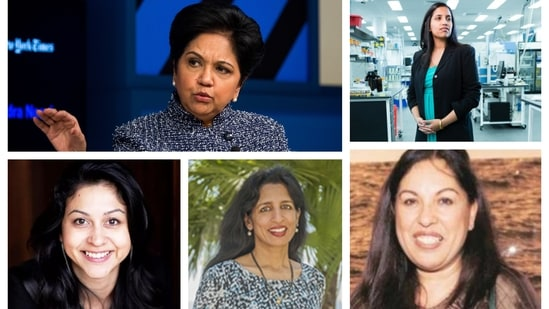 From top left: Indra Nooyi, Reshma Shetty. Bottom Left: Neha Narkhede, Centre: Jayshree Ullal and Botton Right: Neerja Sethi. These 5 women made it to the Forbes list of America's Richest Self-Made Women. (Bloomberg/Medium/BeFunky/IndiaNewEngland/NehaNarkhede/Arista)