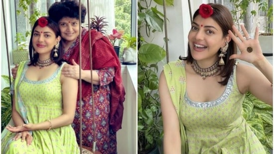 Kajal Aggarwal shared pictures from her Teej celebration.