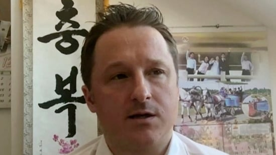 In this file image made from a March 2, 2017 video, Michael Spavor, director of Paektu Cultural Exchange, talks during a Skype interview in Yanji, China. (AP)