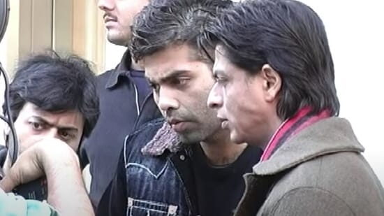 Karan Johar and Shah Rukh Khan on the set of Kabhi Alvida Naa Kehna.