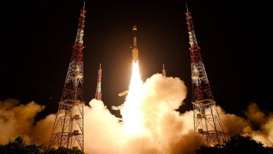 Isro's GSLV-F10 with earth observation satellite EOS-03 on-board blasts off from Sriharikota, early on Thursday.(PTI Photo)