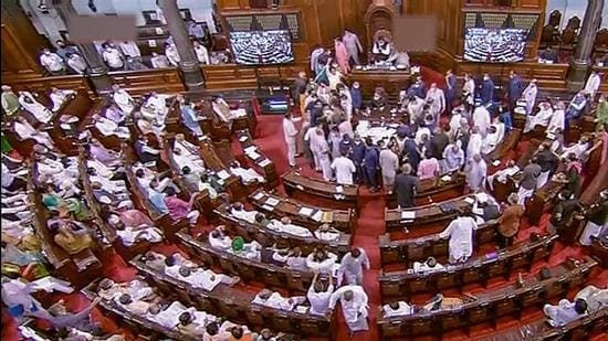 A view of the Rajya Sabha during the monsoon session of Parliament, in New Delhi on Wednesday, August 11. (PTI)