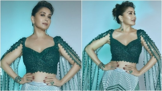 Madhuri Dixit in <span class='webrupee'>₹</span>2 lakh futuristic-traditional lehenga is back in action and how(Instagram/@madhuridixit)